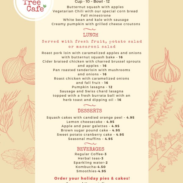 Featuring our Fall Harvest Menu